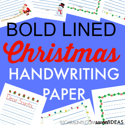 Bold line Christmas paper for modified paper when practicing handwriting this Christmas season.