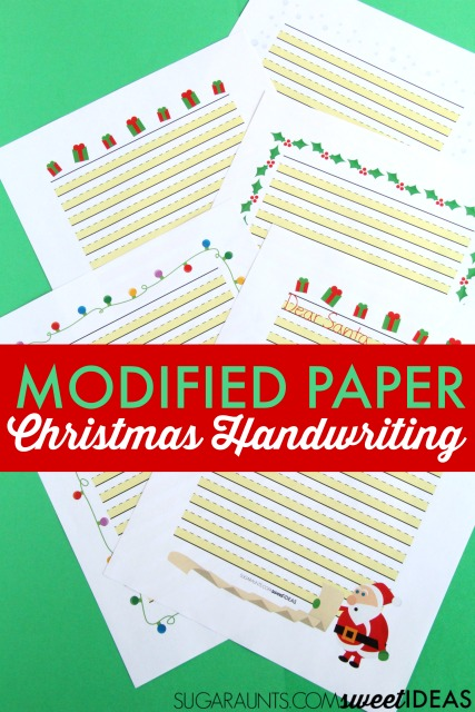 Use modified paper Christmas handwriting pack to work on legibility in written work.