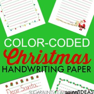 Color-coded lined paper Christmas handwriting