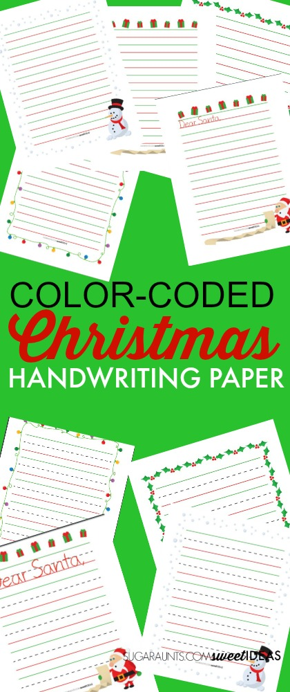 Color Coded Christmas paper for modified writing to improve handwriting legibility.