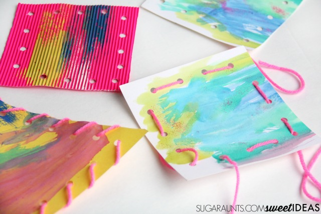 Kids love to make their own lacing cards for addressing fine motor skills.