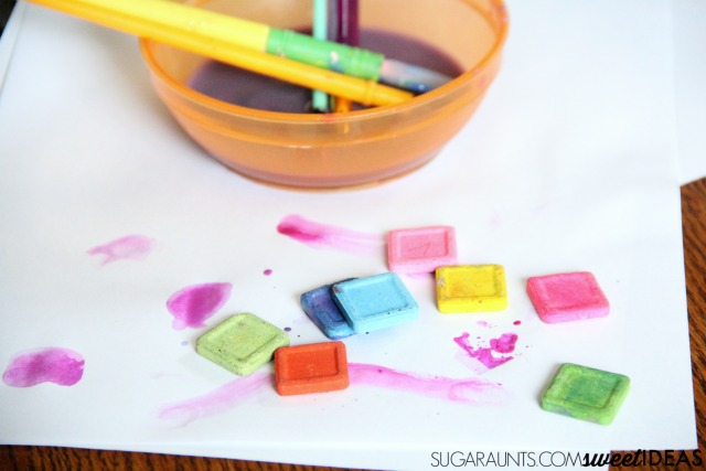 Use watercolor cakes to paint lacing cards and address fine motor skills.