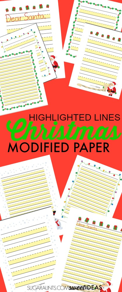 Christmas worksheets for working on handwriting with highlighted lined paper.
