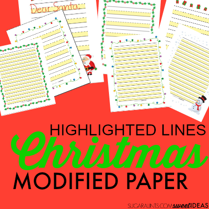 Highlighted lines modified paper for Christmas worksheets that kids will enjoy using.