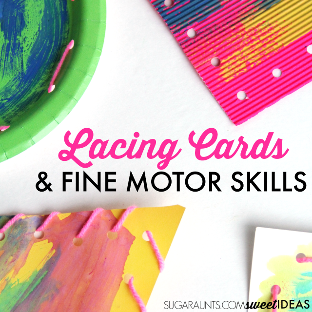 Lacing cards and fine motor skills are great for developing the strength in the hands for handwriting and pencil grasp.