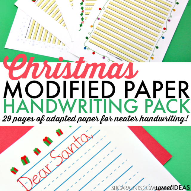 Modified paper Christmas handwriting pack for kids.