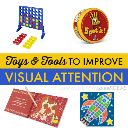 Use these toys and tools to help kids with attention and focus including visual attention.