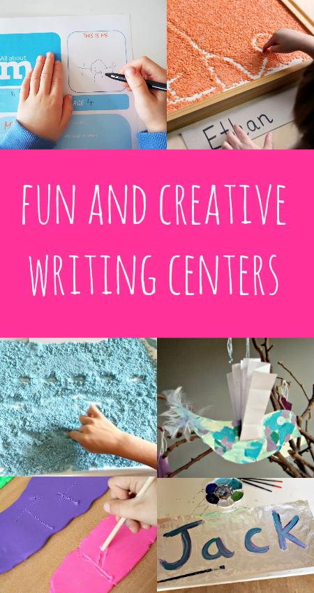 Creative writing centers help kids work on written work with hands-on handwriting activities.