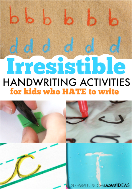 Kids who hate to write will love these irresistible handwriting ideas that are fun and involve all of the senses!