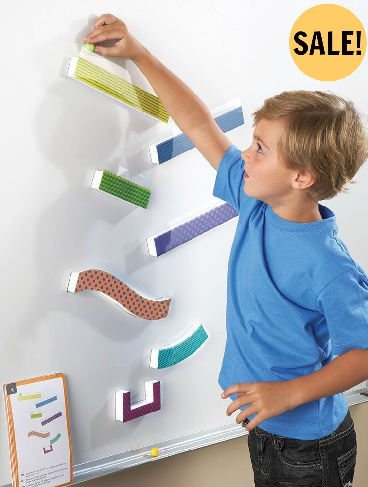 Kids love this Tumble Trax Marble Run that sticks right to the refrigerator while working on visual motor skills and visual scanning.