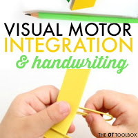 Activities designed to help with visual motor integration and handwriting problems in kids.