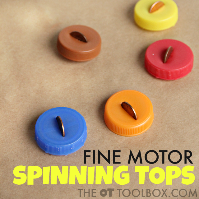 Spinning tops made with bottle caps for addressing in-hand manipulation