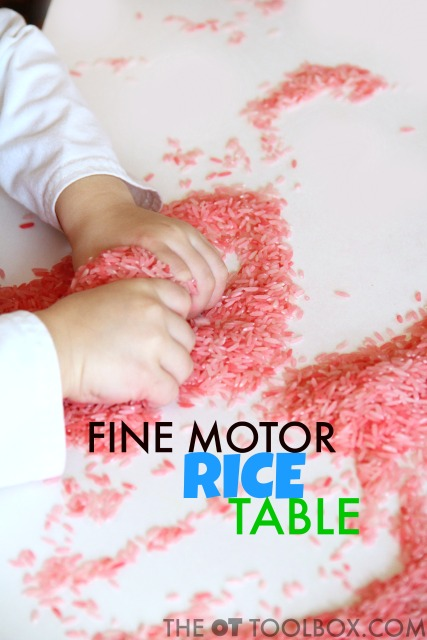 Rice sensory table for pre-handwriting activity