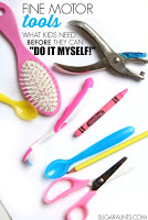 Prerequisites that are necessary for kids (or adults!) to effectively and efficiently use tools in fine motor and self-care tasks, like scissor use, handwriting, hair brushing, self-feeding, tooth brushing, and more.  From an Occupational Therapist.