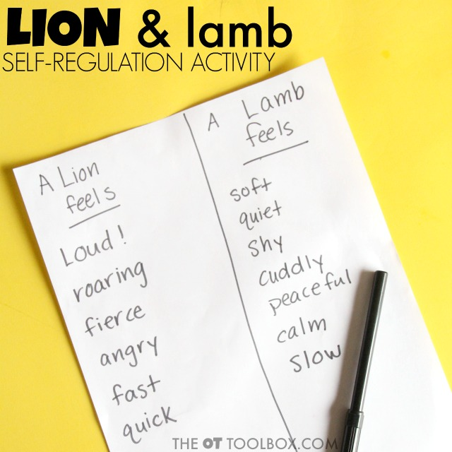 Lion and lamb self regulation activities