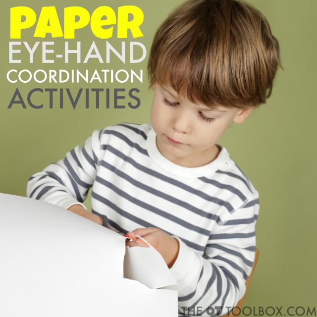 Paper eye-hand coordination activities for kids