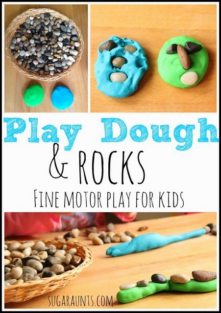Fine motor proprioception with rocks and play dough