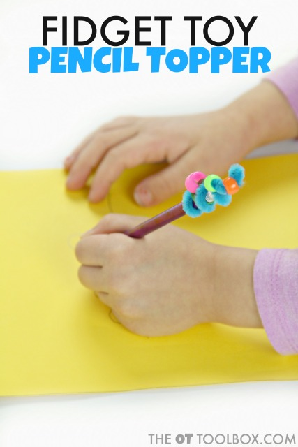 Kids can make a DIY pencil topper fidget toy to help pay attention and focus in the classroom with sensory feedback.