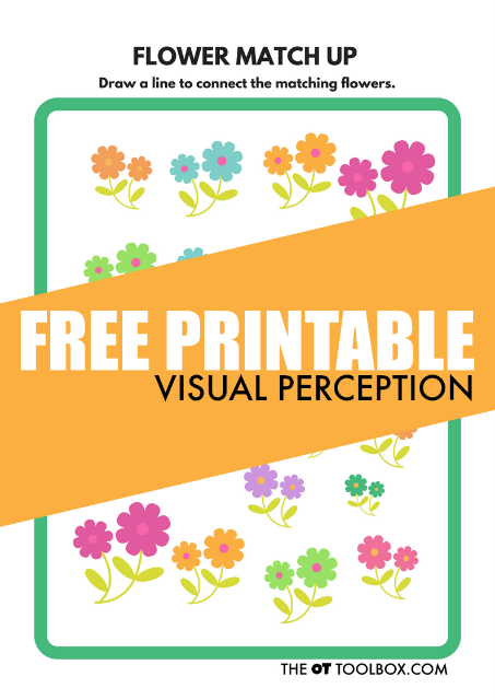 Flower theme free visual perception worksheet to help kids work on visual perceptual skills like visual discrimination, visual memory, visual attention, and pencil control needed for handwriting.
