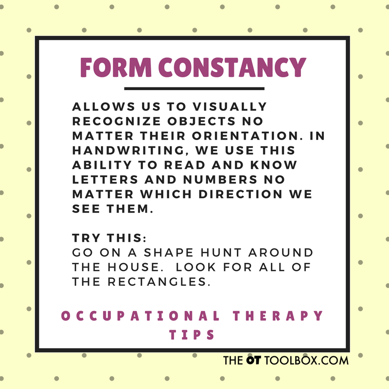 Form constancy visual perception activity