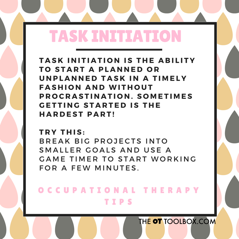 Task initiation executive functioning strategies