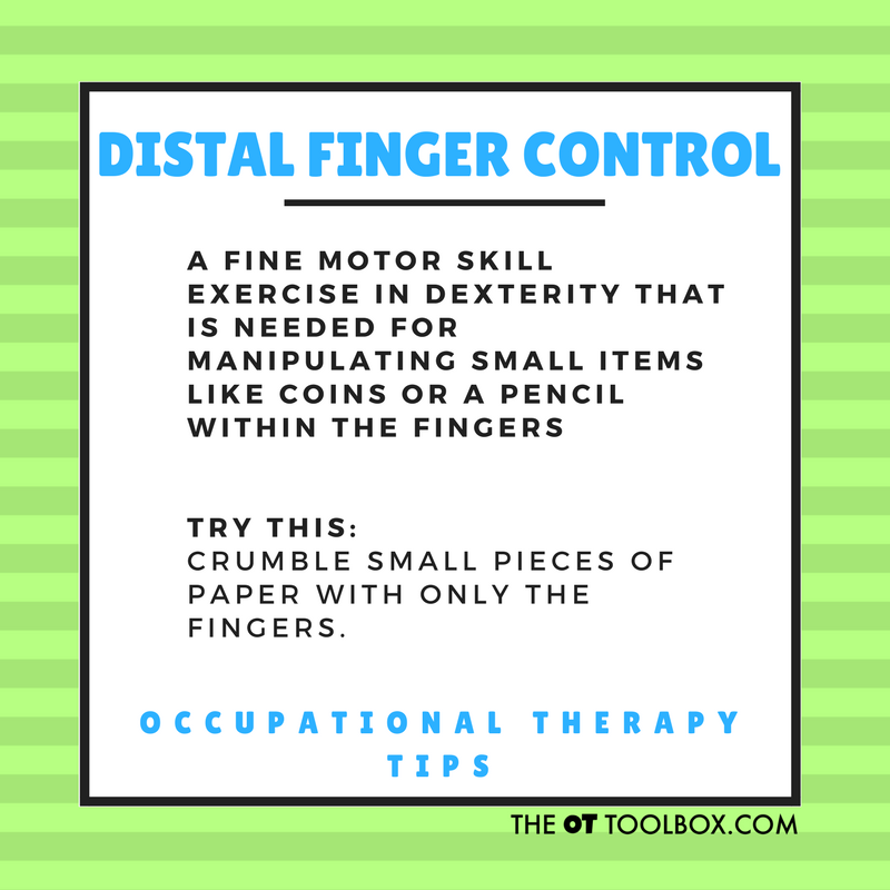 Distal finger control exercises