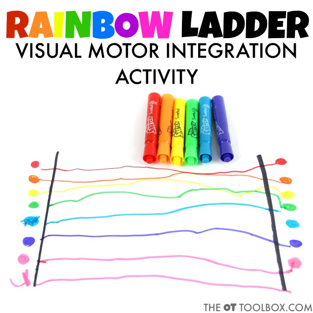 Kids will love to make this rainbow ladder while working on visual motor skills.
