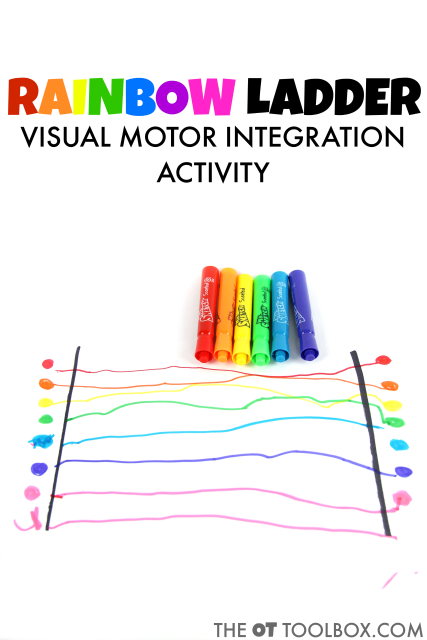 Kids will love this rainbow visual motor activity to address the skills needed for handwriting.
