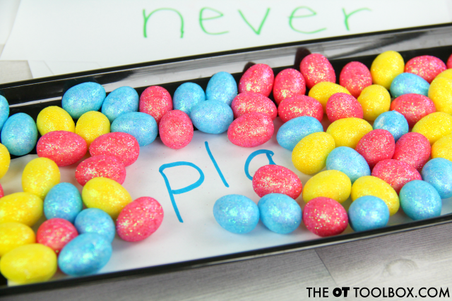 Help kids with tactile learning strategies using a sight word sensory tray.