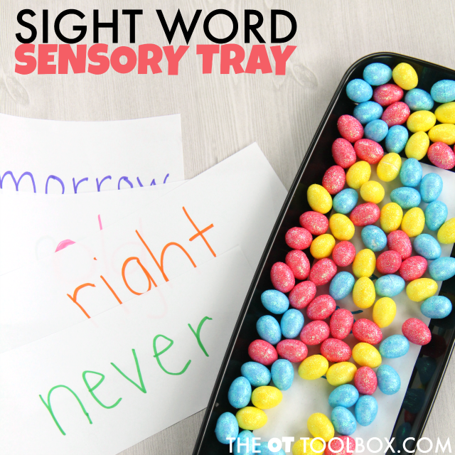 Kids can use this sight word sensory tray to learn sight words when they are tactile learners