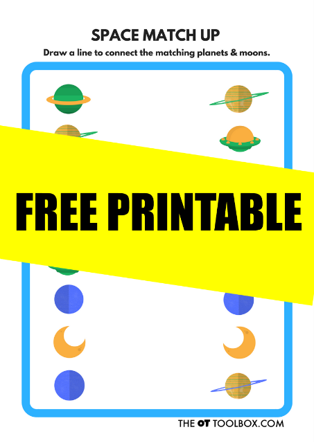 This space themed visual discrimination free printable sheet is great to help kids develop visual perceptual skills.