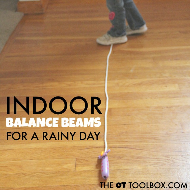 Rainy day ideas including indoor balance beams for kids