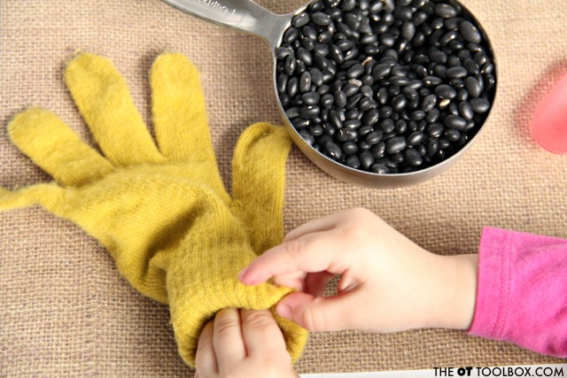 Use a knit glove to make a weighted and calming fidget toy for kids