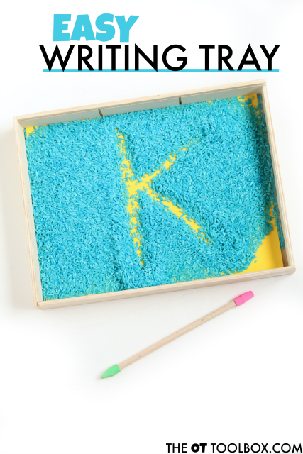 Use colored rice in this easy rice writing tray that will help kids learn to write letters and how to write numbers with a sensory writing activity.