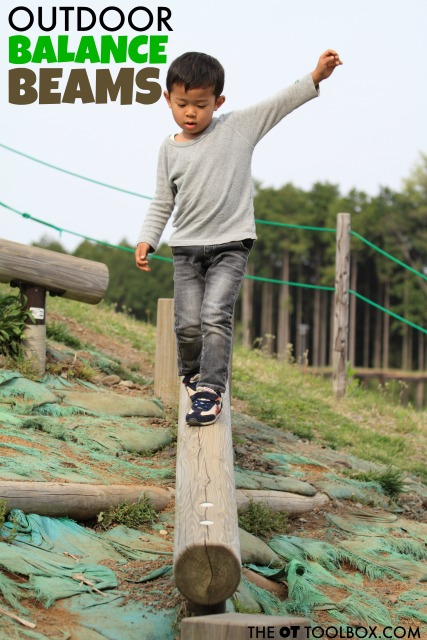 Try these outdoor balance beam ideas to help kids work on sensory needs, vestibular sensory input, and gross motor skills like core strength and balance.
