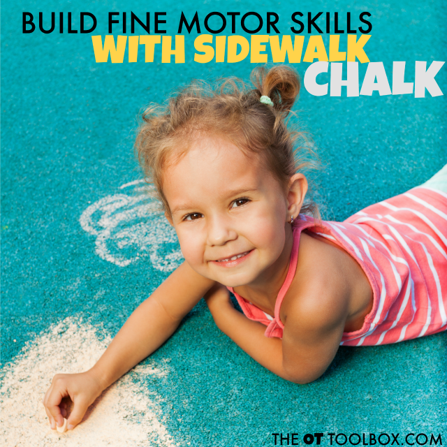 Help kids develop fine motor skills using sidewalk chalk