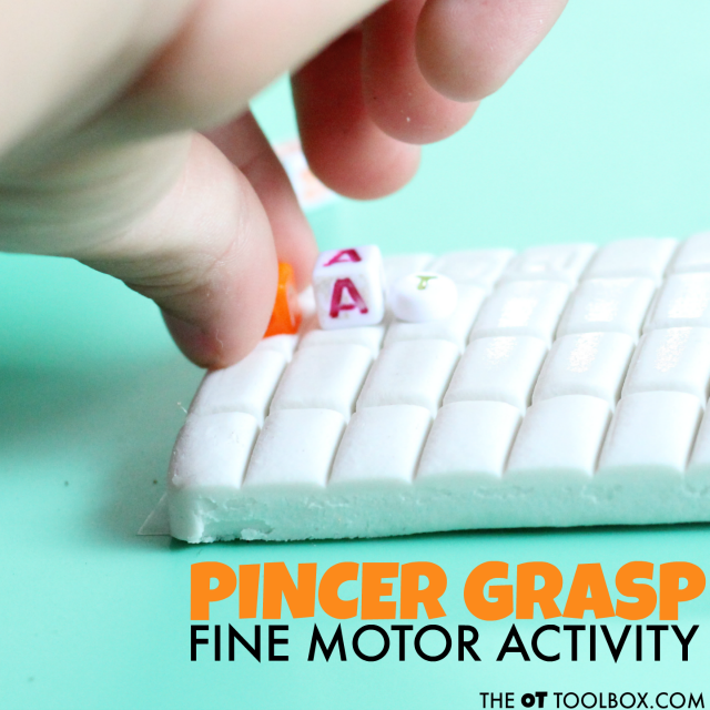 Kids will love this pincer grasp fine motor activity that uses beads and poster sticky tack.