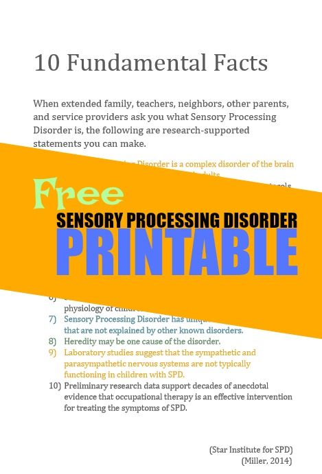 Facts about sensory processing disorder in a free printable packet of SPD information