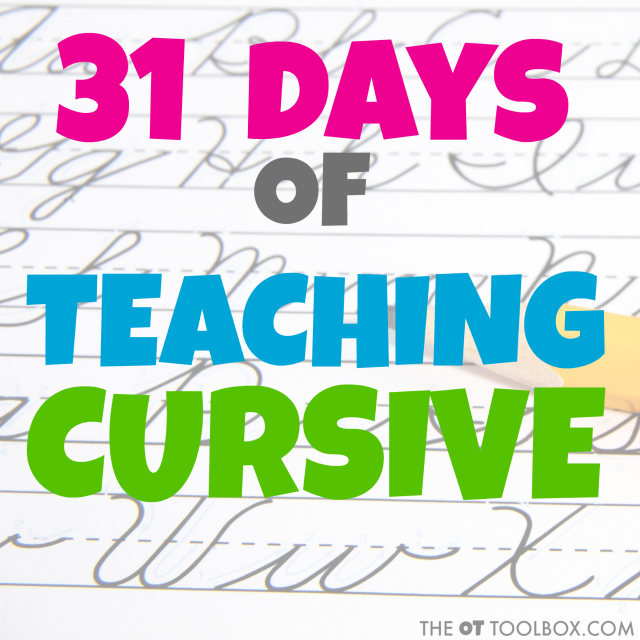 Try this 31 day cursive writing series to teach kids to learn cursive. Therapists and teachers can use these handwriting tips, cursive writing tools, and cursive strategies to teach cursive handwriting.