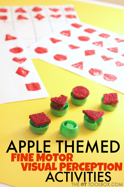 Kids will love this visual perception apple activity using DIY apple stamps.