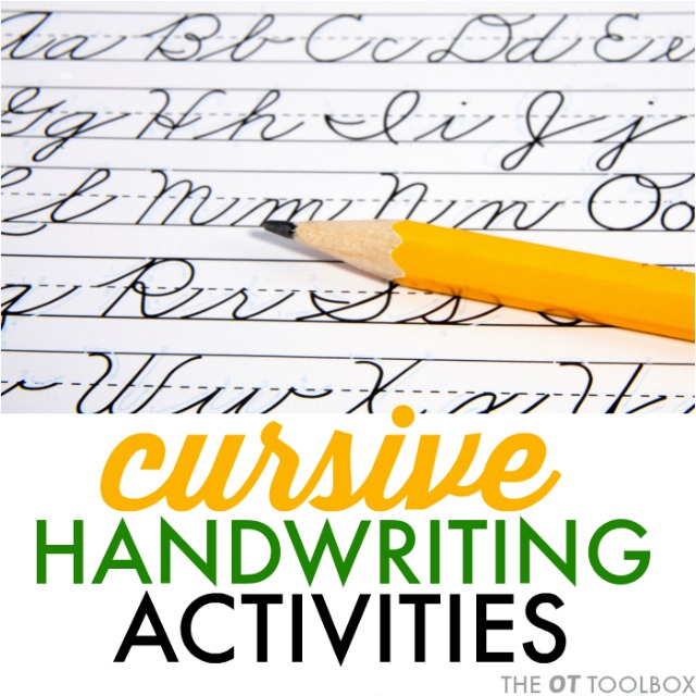 Cursive handwriting activities for kids with handwriting problems.