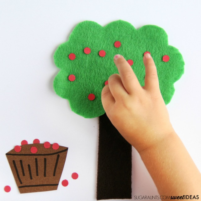 Apple fine motor strengthening activity and fall math with hands-on learning.
