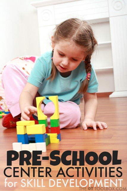 Use these preschool center ideas to help kids develop pre-writing skills and other developmental skills like visual motor and fine motor skills.