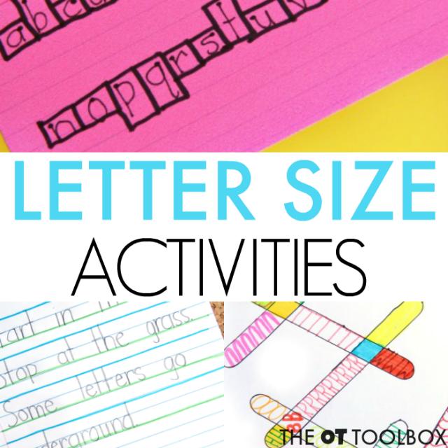 Size awareness in handwriting activities for kids