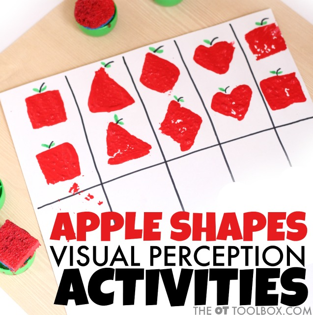 Use these apple stamps to help kids improve visual perception and fine motor skills needed for handwriting, reading, and more.