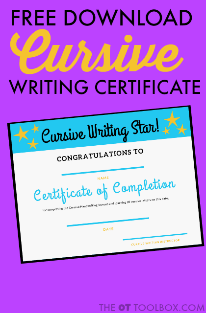 This cursive writing certificate of completion can help kids be proud of the cursive writing they've learned. Use this cursive writing certificate when teaching kids to write in cursive.