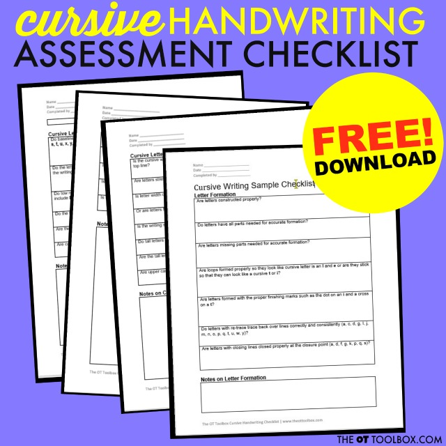 Use this free cursive handwriting assessment checklist to help with diagnosing cursive writing problems and work  on cursive writing progression to functional cursive.