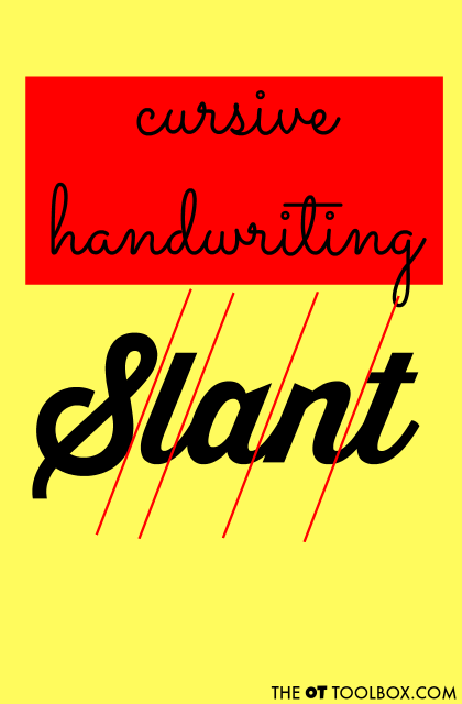 Use these tricks to help address cursive letter slant when teaching kids to write in cursive.