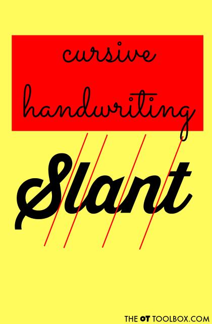 cursive letter formation slant