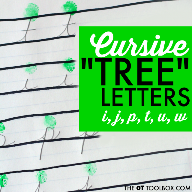 Try this cursive handwriting activity to help kids learn to write in cursive, using an image of a tree for cursive letters i, j, t, u, and w.